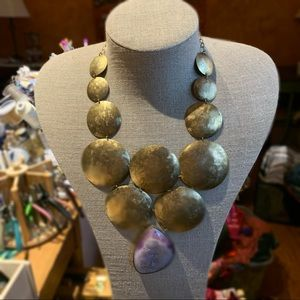 Beautiful brass & druzy necklace bought at Zia